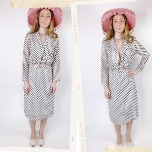 Vintage 70s RARE Polka Dot Open Blouse Skirt Set